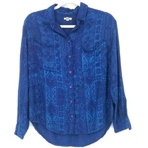 Anthropologie Ecote Blue Patterned Button-Down